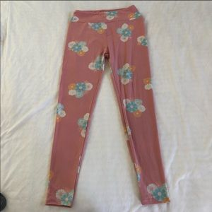 Lularoe Pink Floral Leggings One Size